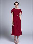 זול שמלות נשף-מעטפת \ עמוד עם תכשיטים באורך הקרסול שיפון שמלה לאם הכלה  עם פרטים מקריסטל על ידי LAN TING BRIDE®