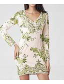 cheap Party Dresses-Women's Sequins Daily Sheath Dress Print V Neck Fall Green L XL XXL
