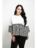 cheap Women's Tops-Women's Plus Size Cotton T-shirt - Color Block