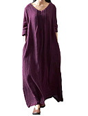 cheap Women's Dresses-Women's Plus Size Loose Dress - Solid Colored Low Rise Maxi U Neck