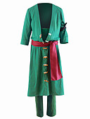 cheap Historical & Vintage Costumes-Inspired by One Piece Roronoa Zoro Anime Cosplay Costumes Cosplay Suits Solid Colored Coat Pants For Men's