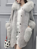 cheap Women's Fur Coats-Women's Going out Cute Street chic Winter Regular Fur Coat,Solid Hooded Faux Fur Lamb Fur