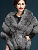 cheap Women's Scarves-Women's Daily Fall / Winter Short Cloak / Capes, Solid Colored V Neck Fox Fur Pink / Dark Gray / Gray One-Size