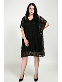 cheap Women's Dresses-Women's Plus Size Batwing Sleeve Cotton Loose Loose Dress - Solid Colored Lace