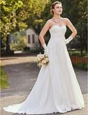 olcso Menyasszonyi ruhák-Szűk szabású Pánt nélküli Udvari uszály Taft / Virágos csipke Made-to-measure esküvői ruhák val vel Rátétek által LAN TING BRIDE®