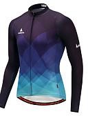 hesapli Bisiklet Formaları-Miloto Erkek Uzun Kollu Bisiklet Forması - Mavi ve Siyah Gradient Bisiklet Forma Üstler Kış, polyester / Streç