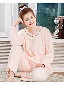preiswerte Damen Schlafanzüge-Damen Pyjamas, Solide Kaschmir Mittel Rosa Beige