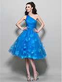 cheap Prom Dresses-A-Line One Shoulder Knee Length Tulle Cocktail Party / Prom Dress with Beading / Flower by TS Couture®