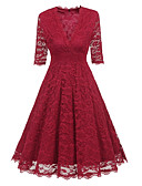 olcso Romantikus csipke-Női Hüvely / Swing Ruha Egyszínű Maxi V-alakú