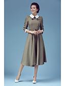 preiswerte Damen zweiteilige Anzüge-Damen Chinoiserie Swing Kleid Einfarbig Midi Hemdkragen
