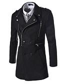 billige Herrejakker og -frakker-Krave Herre Lang Ensfarvet Frakke Bomuld