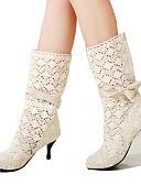 hesapli Moda Başlıklar-Kadın's Ayakkabı Dantel Sonbahar / Kış Rahat / Yenilikçi / Moda Botlar Çizmeler Sivri Uçlu Yarı-Diz Boyu Çizmeler Elbise / Parti ve Gece