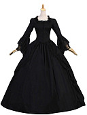 cheap Historical & Vintage Costumes-Duchess Vintage Gothic Victorian Medieval 18th Century Costume Women's Dress Party Costume Masquerade Black Vintage Cosplay Party Prom Long Sleeve Cap Sleeve Floor Length Ball Gown Plus Size