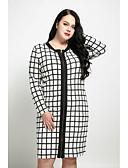 halpa Naisten mekot-Naisten Pluskoko Vintage Katutyyli Suora Mekko - Ruudullinen Polvipituinen