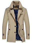 זול גברים-ג'קטים ומעילים-אחיד צווארון חולצה מידות גדולות ארוך בלשית - בגדי ריקוד גברים
