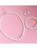 tanie Zegarki elektroniczne-Damskie Biżuteria Ustaw - Sztuczna perła Zawierać Kolczyki drop Naszyjniki Biały Na Ślub Impreza Casual