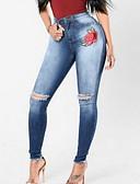זול מכנסיים לנשים-בגדי ריקוד נשים מידות גדולות כותנה סקיני / ג'ינסים מכנסיים רקמה