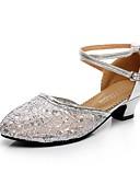 preiswerte Bauchtanzkleidung-Damen Schuhe für modern Dance Spitze / Glitzer Absätze Schnalle Kubanischer Absatz Tanzschuhe Gold / Schwarz / Silber / Professionell