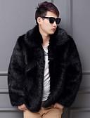 cheap Men's Jackets & Coats-Men's Faux Fur Fur Coat - Solid Colored Shirt Collar / Long Sleeve