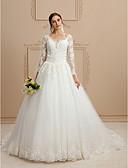 preiswerte Hochzeitskleider-Ballkleid V-Ausschnitt Kirchen Schleppe Tüll / Perlen-Spitze Maßgeschneiderte Brautkleider mit Perlenstickerei / Applikationen durch LAN
