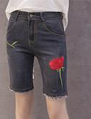 preiswerte Damen Hosen-Damen Freizeit Schlank Kurze Hosen Jeans Hose Stickerei