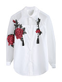 cheap Women's Dresses-Women's Going out Street chic Shirt - Embroidery, Tassel Embroidered Shirt Collar