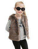 cheap Girls' Jackets & Coats-Toddler Girls' Solid Colored Sleeveless Wool / Rabbit Fur Jacket & Coat