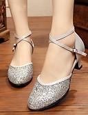 זול שמלות ערב-בגדי ריקוד נשים נעלי ריקוד Paillette נעליים מודרניות שחבור / Paillette עקב מותאם מותאם אישית שחור / כסף / אדום / בבית / EU38