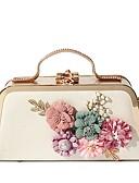 preiswerte Cocktailkleider-Damen Taschen PU Abendtasche Perlen Verzierung / Blume Schwarz / Rosa / Purpur