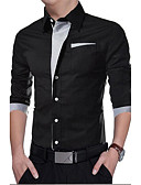 cheap Men's Hoodies & Sweatshirts-Men's Casual Slim Shirt - Solid Colored / Long Sleeve