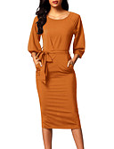 cheap Women's Dresses-Women's Slim Bodycon Dress - Solid Colored High Rise