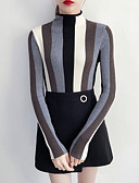 cheap Leggings-Women's Work Long Sleeves Slim Pullover - Striped Stand