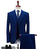 olcso Mellények és nadrágok-Kék Kockás/Tarka Standard Poliészter Öltöny - Hegyes Térfogatcsökkenés Egysoros két gombos