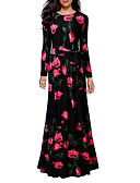 cheap Print Dresses-Women's Floral Daily / Holiday / Going out Vintage Maxi Sheath Dress - Floral Cotton Black L XL XXL / Loose