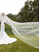 cheap Wedding Veils-One-tier Cut Edge Modern Wedding Veil Blusher Veils Cathedral Veils Headpiece 53 Ruched Tulle