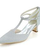 abordables Vestidos de Madrina-Mujer Zapatos Purpurina Primavera / Verano Confort Zapatos de boda Dedo cuadrada Plata / Rojo / Azul / Talón de bloque / Boda
