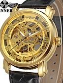 preiswerte Herren-Gürtel-WINNER Herrn Kleideruhr Armbanduhr Mechanische Uhr Automatikaufzug Schwarz 30 m Transparentes Ziffernblatt Analog Luxus Retro - Gold / Edelstahl