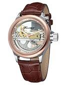 tanie Zegarki mechaniczne-Męskie Zegarek na nadgarstek Hollow Grawerowanie Skóra Pasmo Vintage / Na co dzień / Modny Brązowy / Stal nierdzewna / Nakręcanie automatyczne