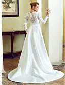 preiswerte Hochzeitskleider-A-Linie / Trompete / Meerjungfrau Bateau Hals Hof Schleppe Satin mit Spitzen-Overlay Maßgeschneiderte Brautkleider mit Schleife(n) /