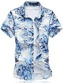 cheap Men's Shirts-Men's Chinoiserie Plus Size Cotton Shirt - Floral Blue XXXXL / Short Sleeve / Summer
