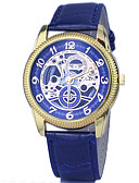 preiswerte Quartz-Damen Armbanduhr Chinesisch Chronograph / Transparentes Ziffernblatt Leder Band Freizeit / Modisch / Elegant Weiß / Blau / Rot / Edelstahl