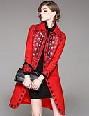 baratos Vestidos Femininos-Mulheres Casaco Trabalho Moda de Rua - Xadrez, Lã Colarinho de Camisa