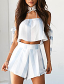 cheap Women's Dresses-Women's Daily / Going out Short Blouse - Striped / Color Block Pant Boat Neck / Spring / Summer / Ruffle