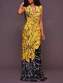 baratos Vestidos de Mulher-Mulheres Feriado / Praia Boho Tubinho Vestido - Retro, Estampa Colorida / Mulher Sensual Decote em V Profundo Cintura Alta Longo / Verão