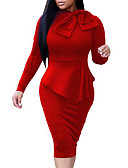 cheap Women's Coats & Trench Coats-Women's Going out Skinny Sheath Dress - Solid Colored Red, Bow Crew Neck