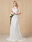 cheap Wedding Dresses-Sheath / Column Illusion Neck Sweep / Brush Train Chiffon / Sheer Lace Made-To-Measure Wedding Dresses with Appliques / Buttons by LAN