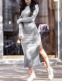 رخيصةأون قمصان نسائية-ميدي قبعة السلحفاة مفصول, سادة - فستان غمد أناقة الشارع للمرأة