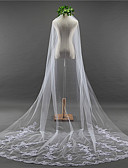 cheap Wedding Veils-One-tier Lace Applique Edge Elegant & Luxurious Wedding Veil Chapel Veils 53 Appliques Embroidery Lace Tulle