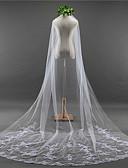 cheap Wedding Veils-One-tier Lace Applique Edge / Elegant & Luxurious Wedding Veil Chapel Veils with Appliques / Embroidery Lace / Tulle / Classic