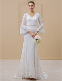 cheap Wedding Dresses-Mermaid / Trumpet V Neck Sweep / Brush Train All Over Lace Made-To-Measure Wedding Dresses with Beading / Sashes / Ribbons by LAN TING